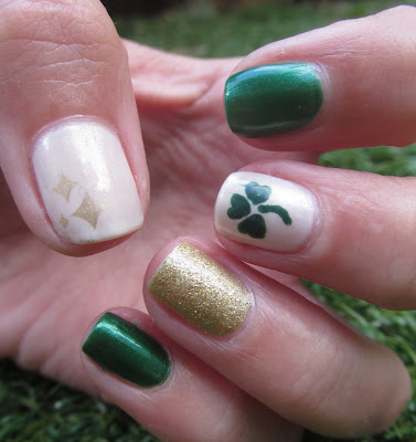 st patricks day nail design sally hansen emerald city