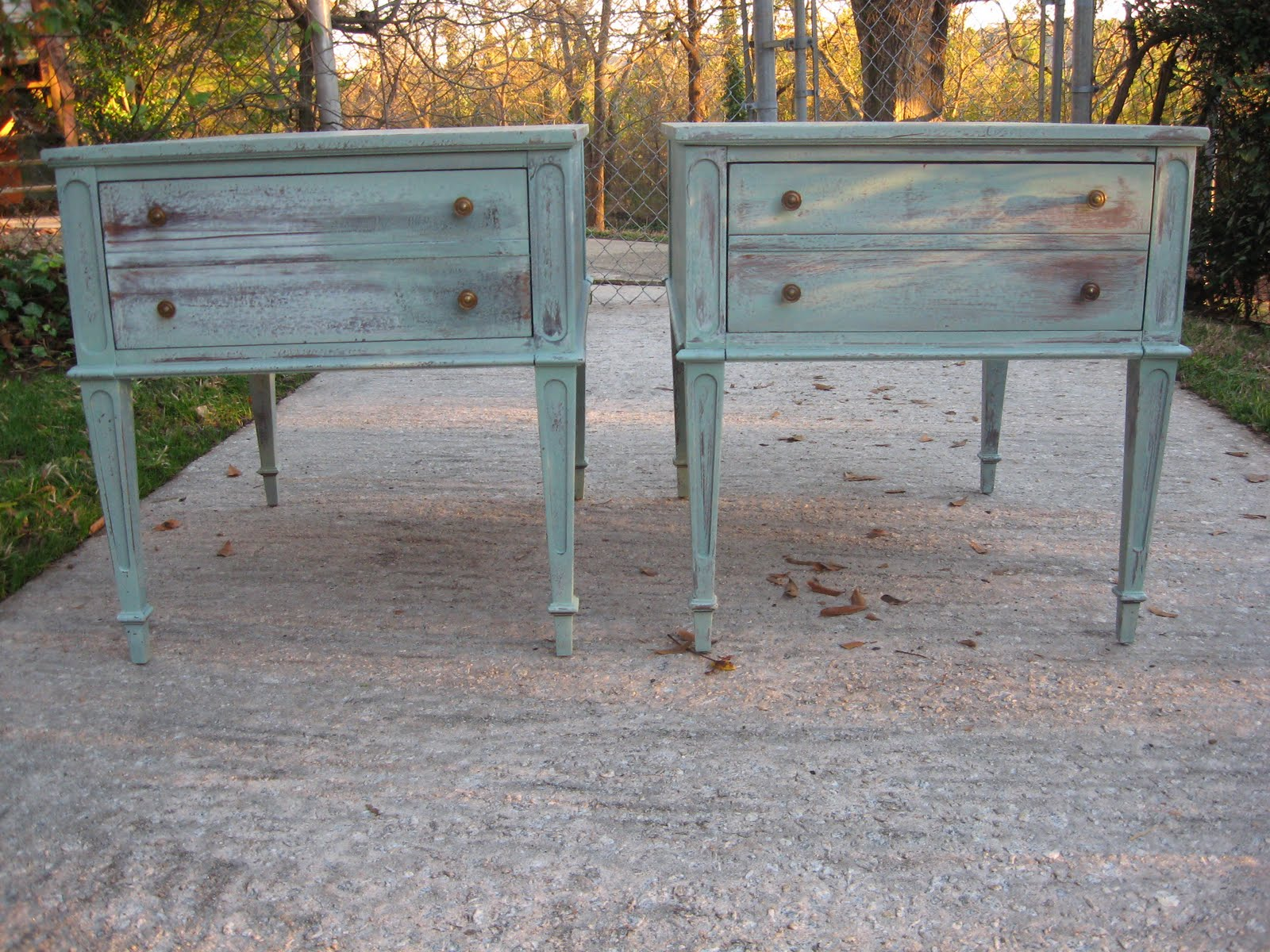2 white wash end tables sold