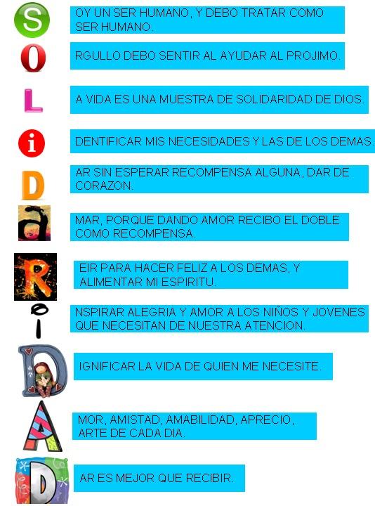 Ciudadanía y Valores 2-2012 EAC: Acròstico de Solidaridad