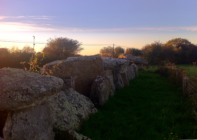 View of Neolithic barrow at Sunset