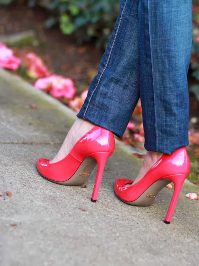 bright pink hot pumps patent shoes heels