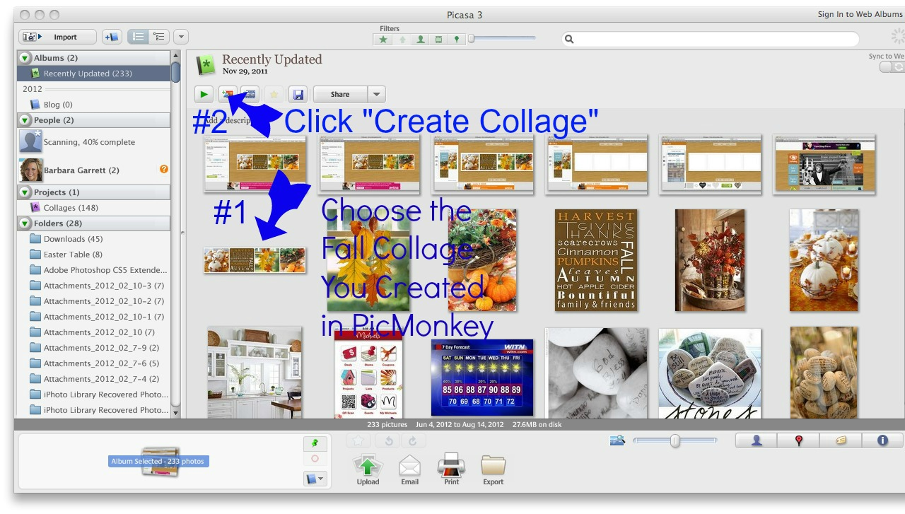 how to make a blog header in picasa