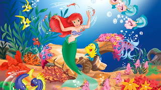 Little Mermaid Ariel with Fishes HD Wallpaper