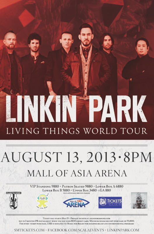 Linkin Park Live in Manila 2013  Ticket  Date and Venue Linkin Park 2013