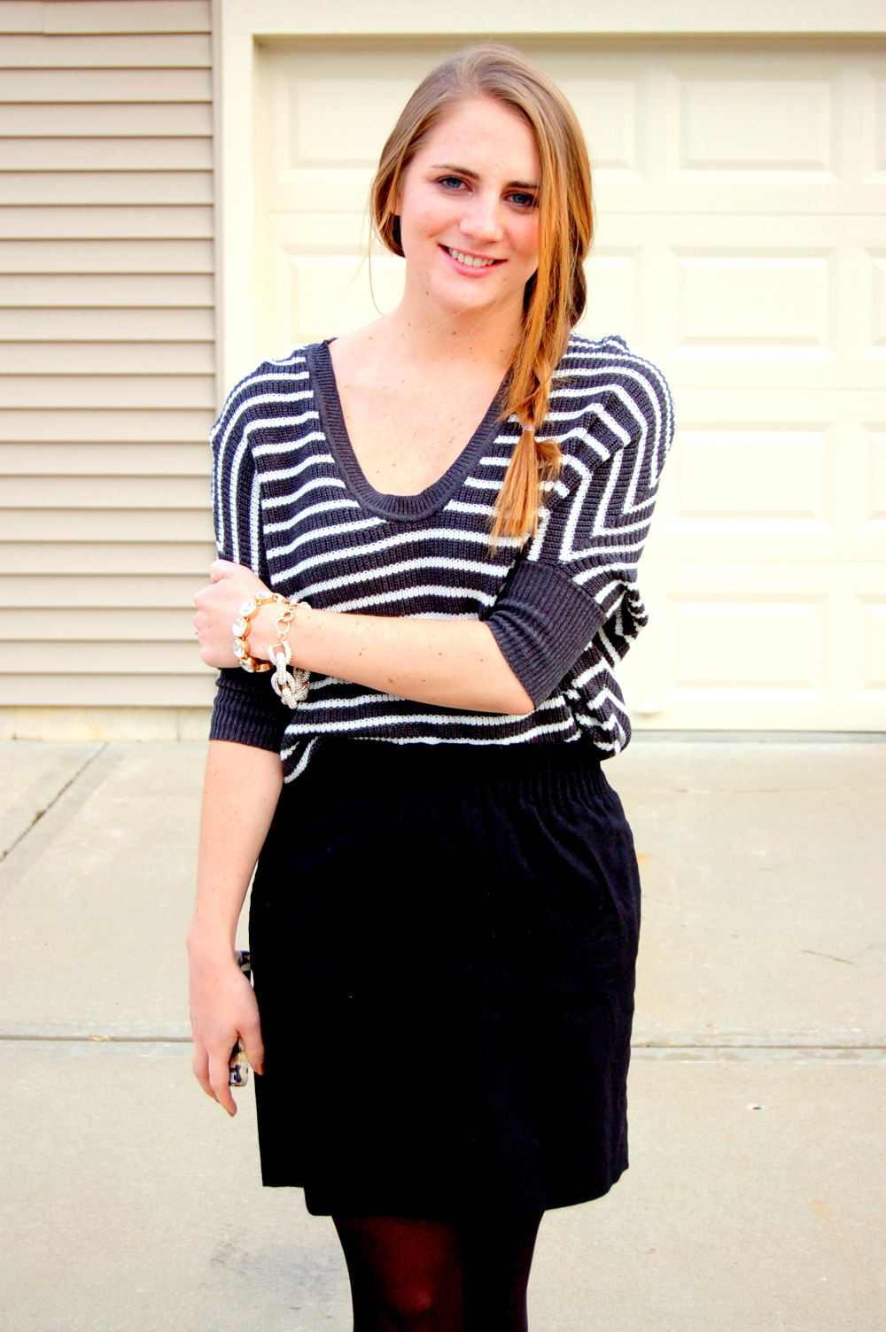 simple outfits with a striped sweater