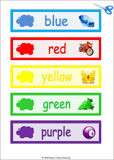 Colours word wall cards