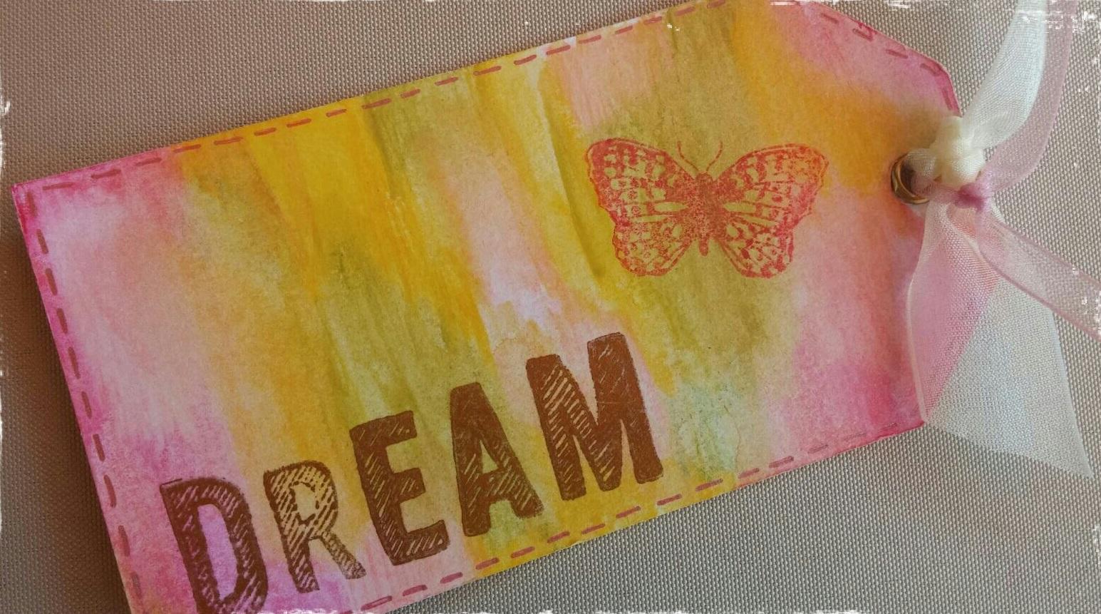 """Tag """"Dream""""; Marcapáginas con acuarelas"""