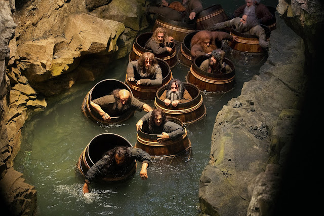 Dwarlfs in barrels in The Hobbit: The Desolation of Smaug movie still image picture photo