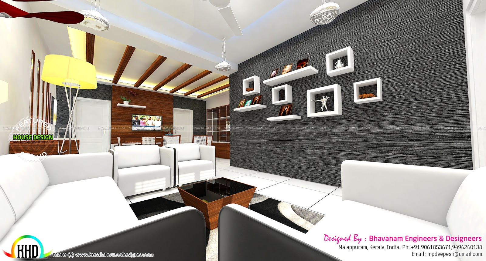 Living room interior decors ideas kerala home design and for Home drawing room design
