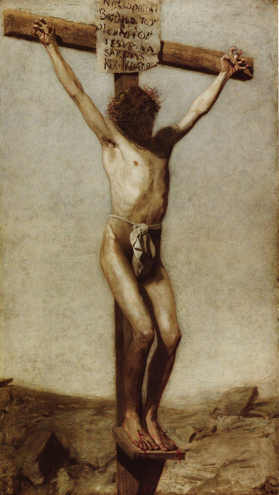 naked boy on the cross
