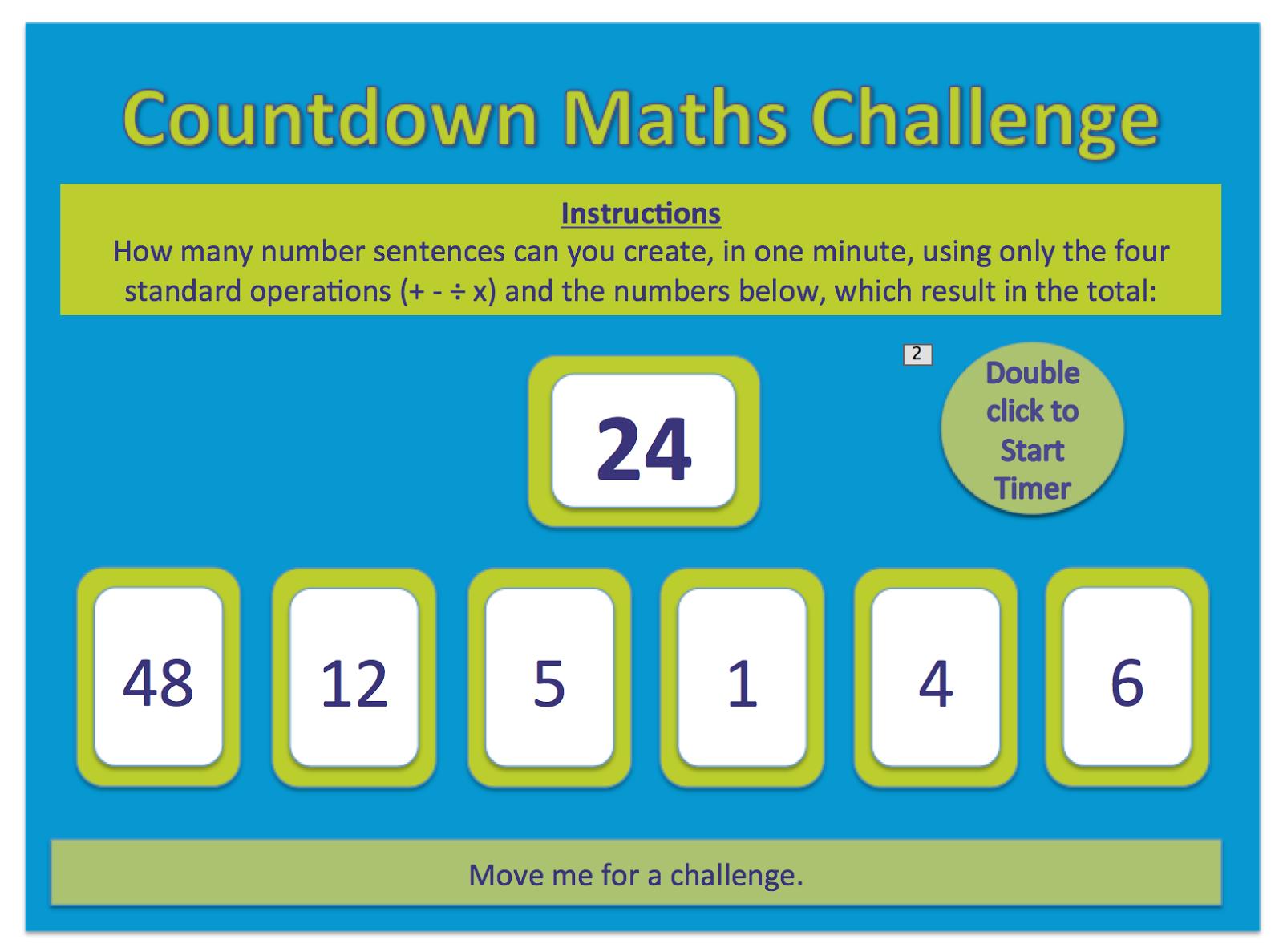 Maths Teaching Ideas: Countdown