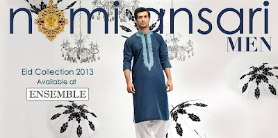 Simple Kurta With Embroidered Neckline For Men