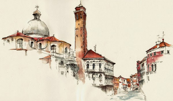 Water colour picture of Venice