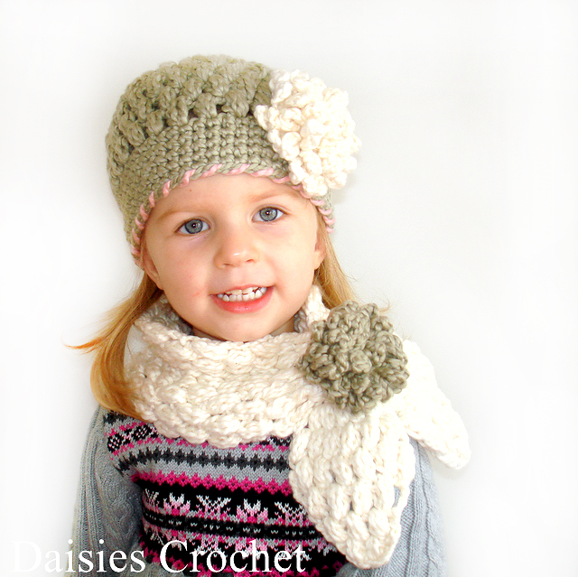 Free Crochet Patterns For Hats And Scarf Sets : Daisies Crochet: Crochet 2 pdf patterns PUFFER HAT and ...