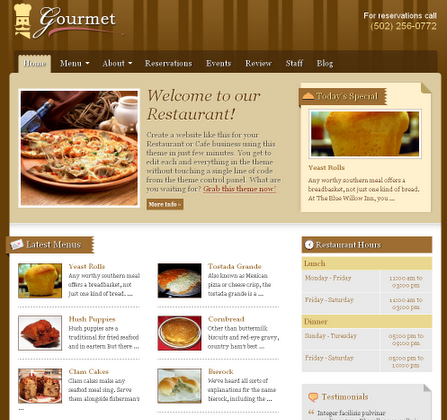 Gourmet and Restaurant WordPress Theme by Templatic Free Download.