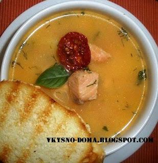 Суп с молоком и лососем