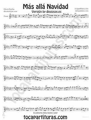 Tubepartitura Más Allá de Gloria Estefan partitura para Flauta Villancico pop - rock