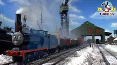 Cranky the crane Brendam docks the two Thomas the tank engine friends Christmas large present train