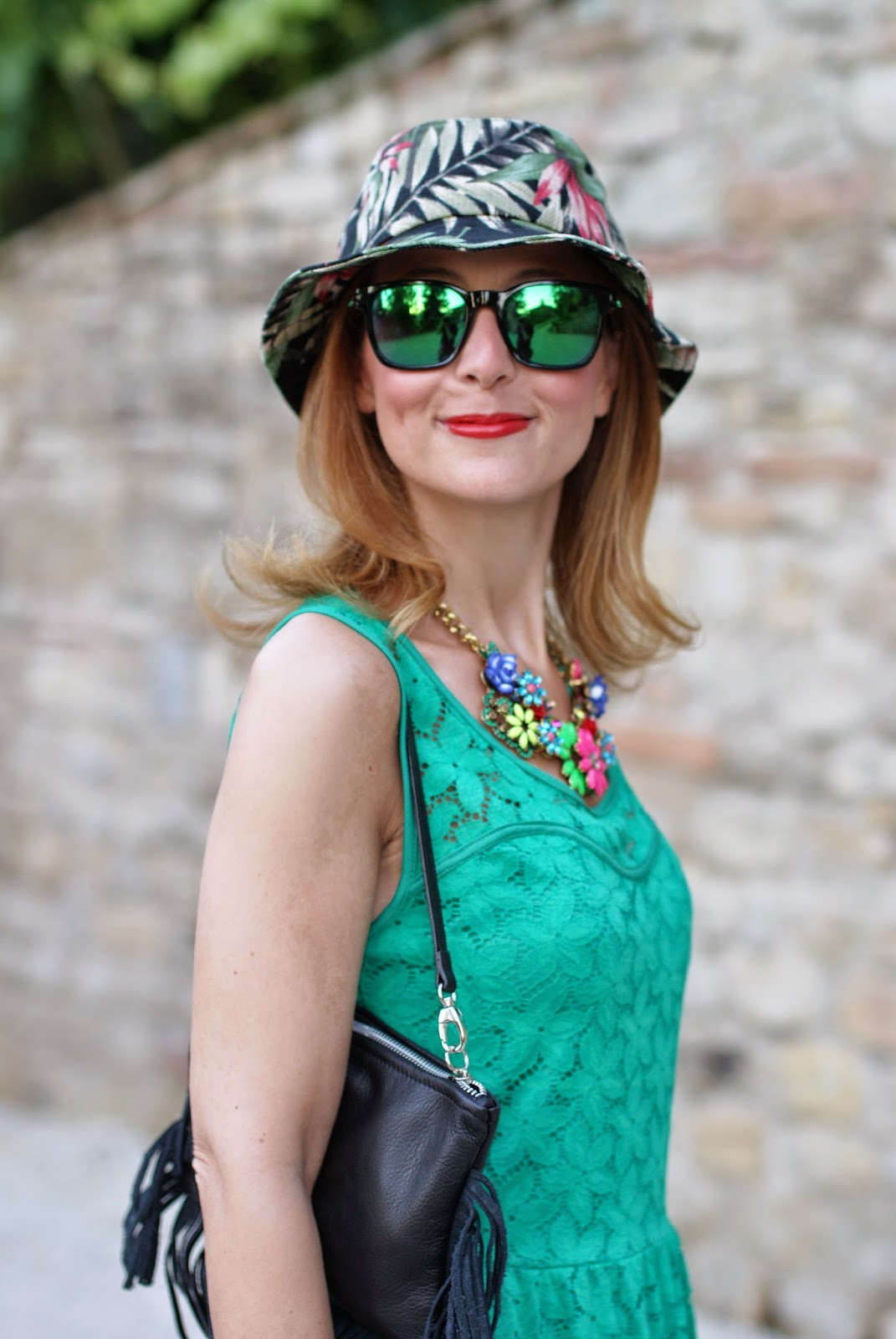 Morgan de toi lace dress, headict hat, fringed bag, bob hat, oakley green sunglasses, Fashion and Cookies, fashion blogger
