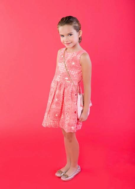 vestido color coral Sanmar moda infantil