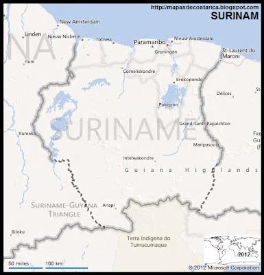 Mapa de SURINAM, BING