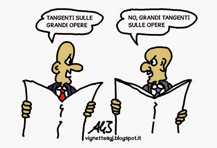 Grandi opere, tangenti, satira , vignetta