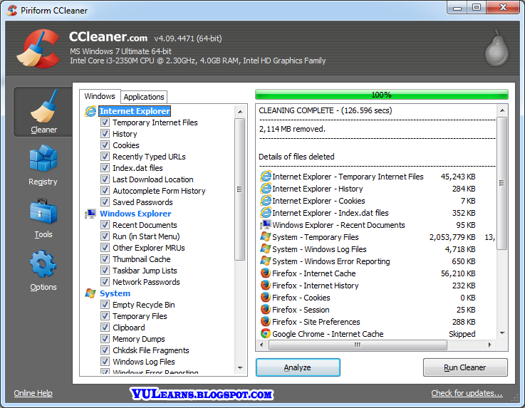 Speed up your computer by CCleaner