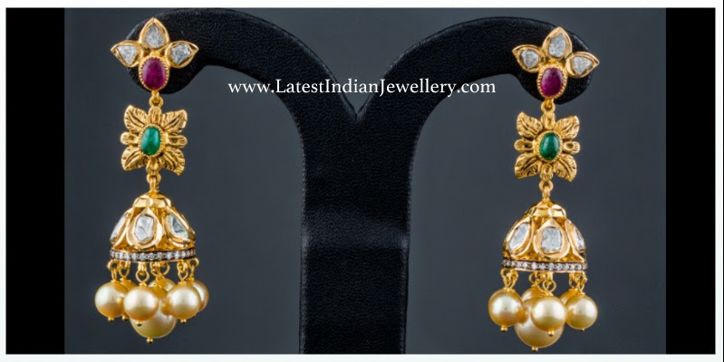 Polki Diamond Long Jhumki Earrings