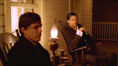 Casey Affleck as Robert Ford and Brad Pitt as Jesse James, The Assassination of Jesse James by the Coward Robert Ford, Directed by  Andrew Dominik