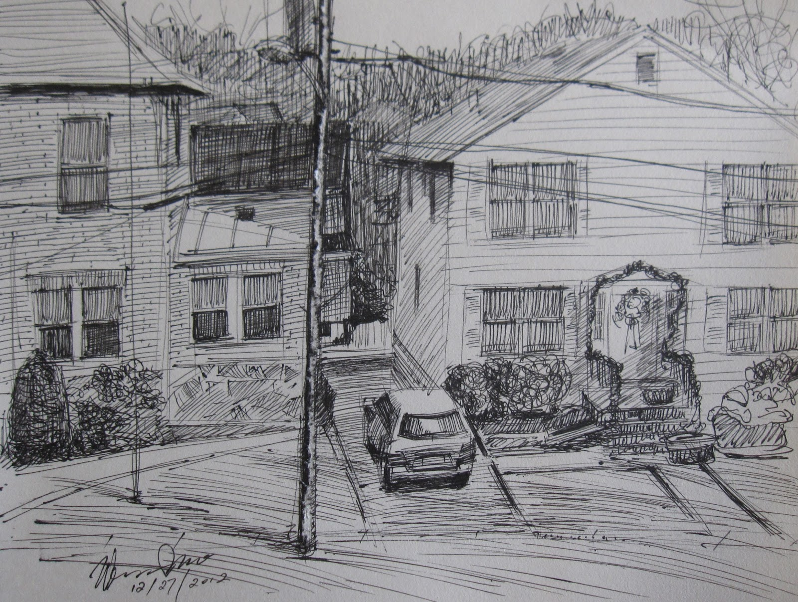 window view drawing. drawing: from my window view drawing o