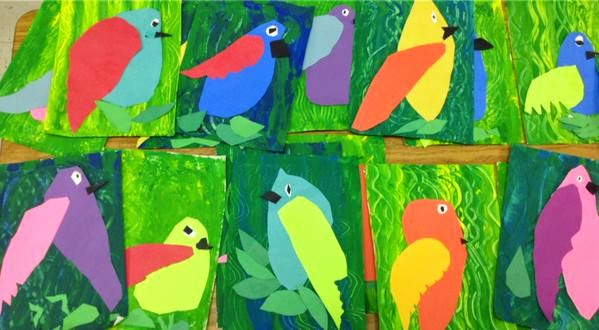 Art With Mr. E: Mixed Media Rain Forest Birds: Kindergarten
