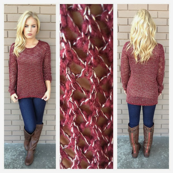 Cute Burgundy & Gold Light Weight Sweater and Tight Jeans with Long Boots for Stylish Ladies