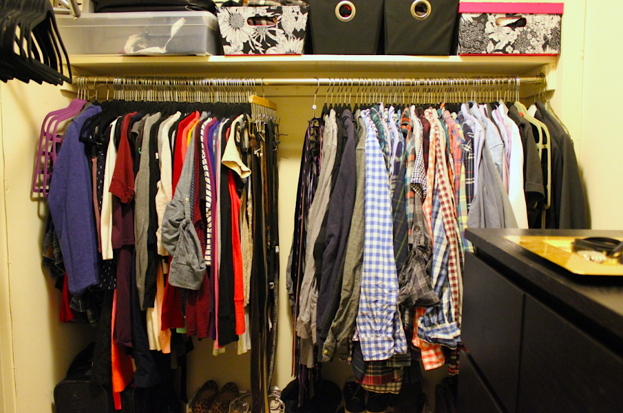 Closet makeover after black felt hangers