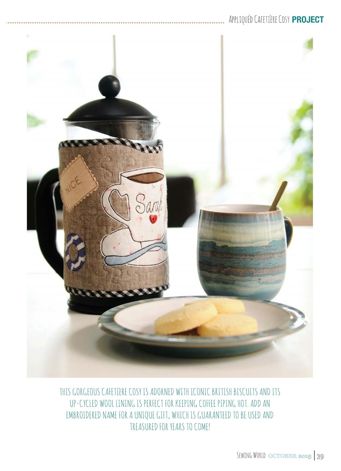 Sewforsoul British Biscuits Appliqued Cafetiere Cosy