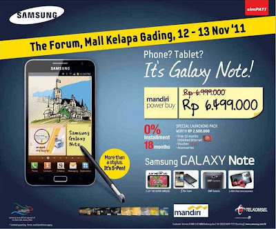 Harga Peluncuran Samsung Galaxy Note di mall kelapa gading jakarta