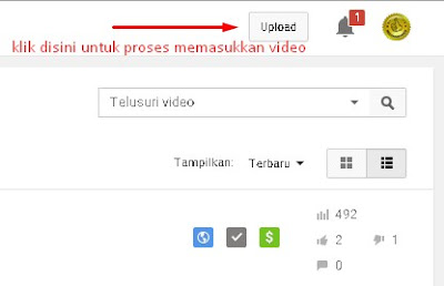 menu upload video youtube