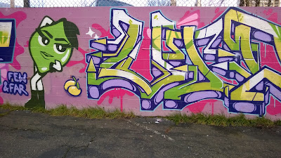 Few & Far, Lime Green, Pink Wall