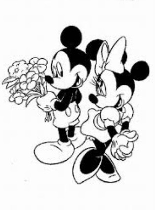 Valentine Coloring Pages Disney Mickey and Minnie Mouse