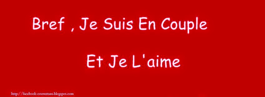 Photo de couverture facebook avec citation je suis en couple