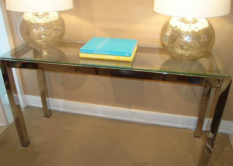 MICHAEL THOMAS Chrome and Glass Console Table