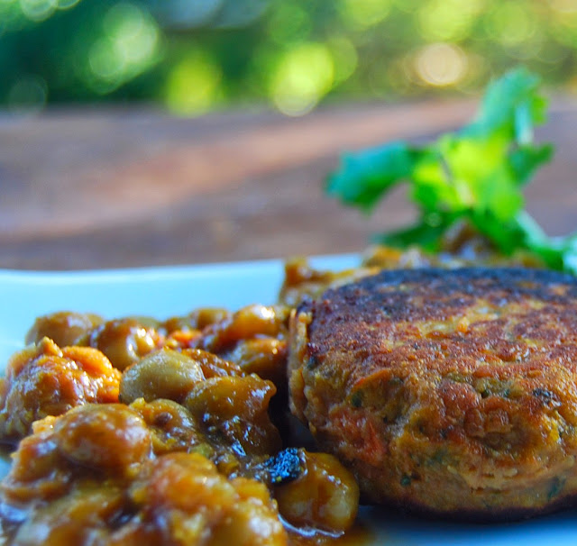 Sweet Potato and Kale Patties in a Spice Chickpea Sauce