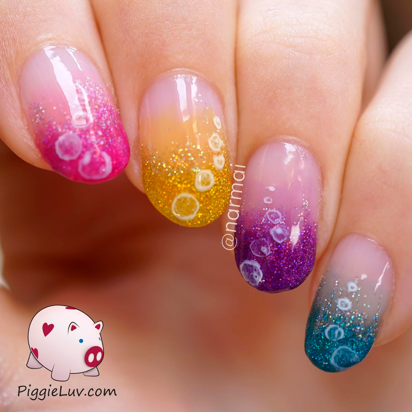 PiggieLuv: Glitter bubbles nail art with OPI Color Paints & Sheer Tints