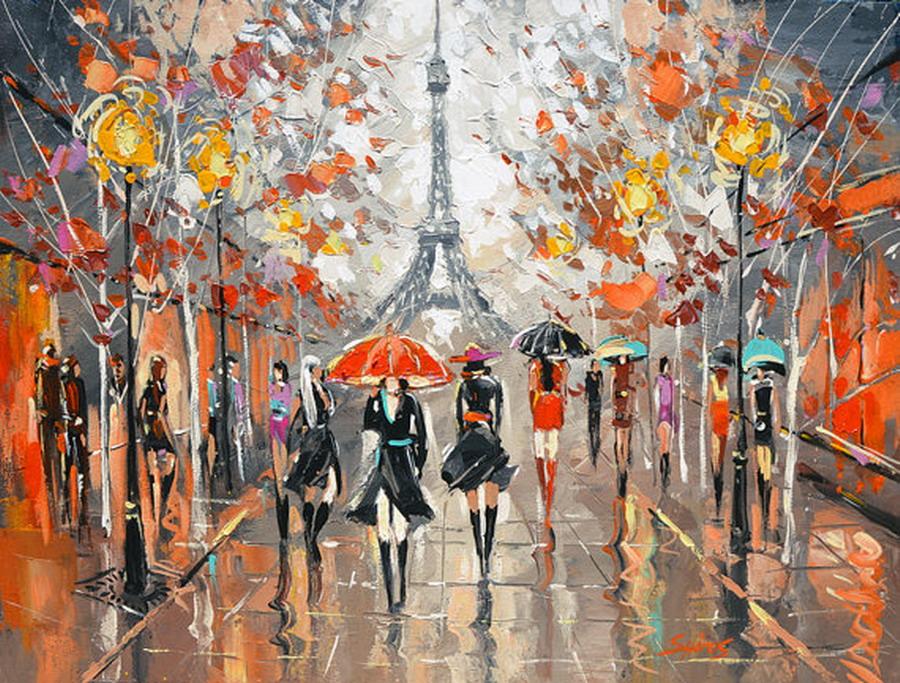 Cuadros modernos pinturas y dibujos calles parisinas for Cuadros de oleo modernos
