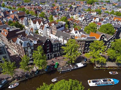 Vista aérea de la ciudad de Amsterdam, Países Bajos.