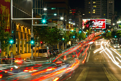 A photograph of light trails along William street in Sydney, Australia