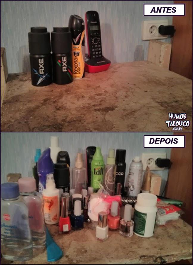 A diferença entre antes e Depois de morar com uma mulher