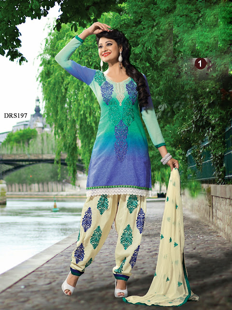 Buy Exclusive Patiala Style Cotton Dress Material