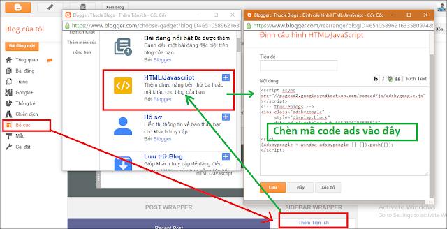 Chèn quảng cáo vào nội dung bài viết Blogger Blogspot