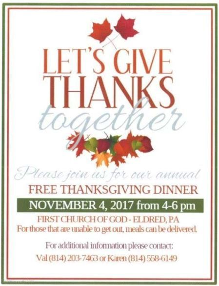 11-4 Free Thanksgiving Dinner