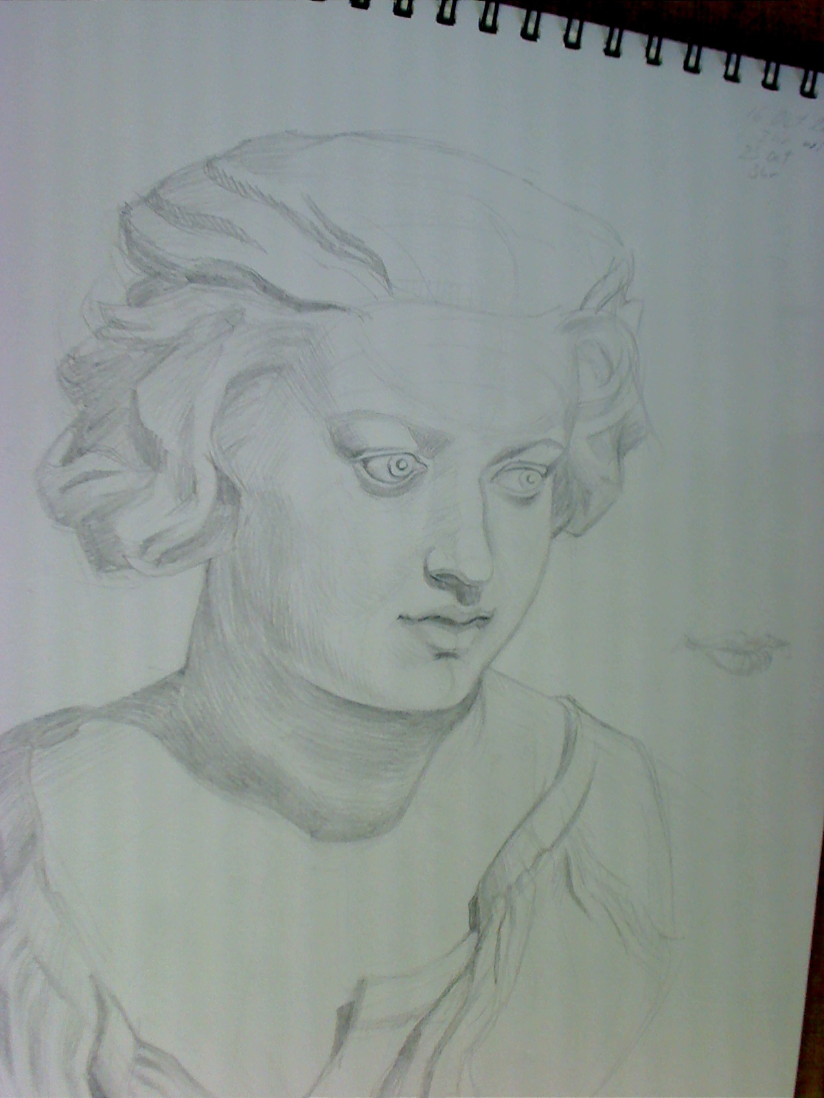 Cast drawing of girl's bust